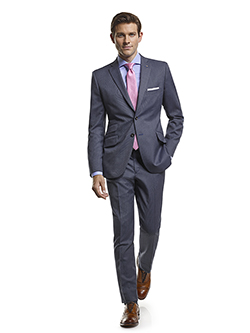Men's Modern Custom Suit Gallery                                                                                                                                                                                                                          , Super 100's Smoke Blue Tic Weave - Custom Suit