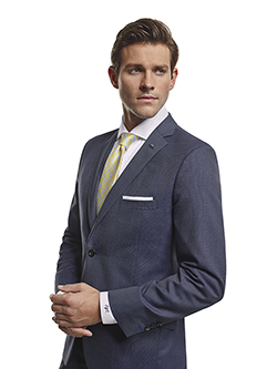 Men's Modern Custom Suit Gallery                                                                                                                                                                                                                          , Super 100's Smoke Blue Tic Weave - Custom Made Suit