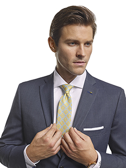 Men's Modern Custom Suit Gallery                                                                                                                                                                                                                          , Super 100's Smoke Blue Tic Weave - Custom Tailored Suit