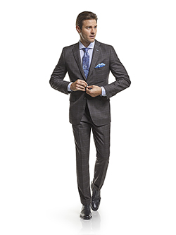 Men's Modern Custom Suit Gallery                                                                                                                                                                                                                          , Super 120's Charcoal Windowpane - Custom Suit