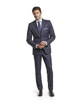 Custom Super 140's Navy Windowpane - Custom 3-Piece Suit