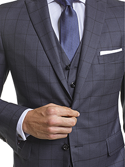 Custom Super 140's Navy Windowpane - Custom Tailored 3-Piece Suit