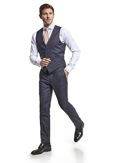 Men's Modern Custom Suit Gallery                                                                                                                                                                                                                          , Super 140's Navy Windowpane - Custom Vest & Trousers