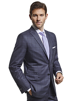 Men's Modern Custom Suit Gallery                                                                                                                                                                                                                          , Super 140's Navy Windowpane - Custom Suit