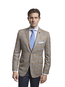 Men's Modern Custom Suit Gallery                                                                                                                                                                                                                          , Super 120's Sandstorm Plaid - Custom Sport Coat & Custom Trousers
