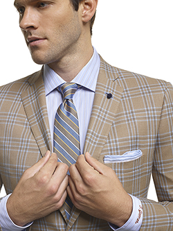 Men's Modern Custom Suit Gallery                                                                                                                                                                                                                          , Super 120's Sandstorm Plaid - Custom Fitted Sport Coat