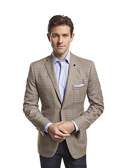 Men's Modern Custom Suit Gallery                                                                                                                                                                                                                          , Super 120's Sandstorm Plaid - Custom Sport Coat & Jack of Spades Jean