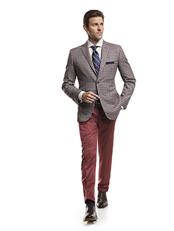 Men's Modern Custom Suit Gallery                                                                                                                                                                                                                          , Super 120's Maroon Windowpane Check - Custom Sport Coat  & Custom Trousers
