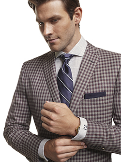 Men's Modern Custom Suit Gallery                                                                                                                                                                                                                          , Super 120's Maroon Windowpane Check - Custom Sport Coat
