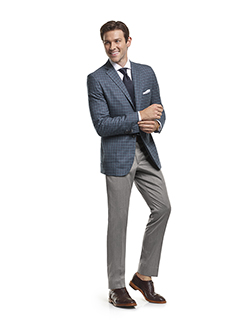 Men's Modern Custom Suit Gallery                                                                                                                                                                                                                          , Super 140's Gray & Teal Windowpane Check - Custom Sport Coat & Custom Trousers