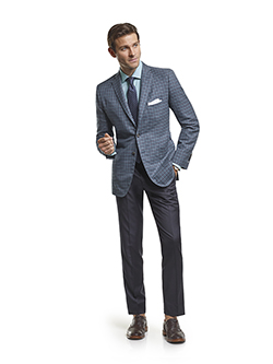 Men's Modern Custom Suit Gallery                                                                                                                                                                                                                          , Super 140's Gray & Teal Windowpane Check - Custom Sport Coat & Custom Gaberdine Trousers