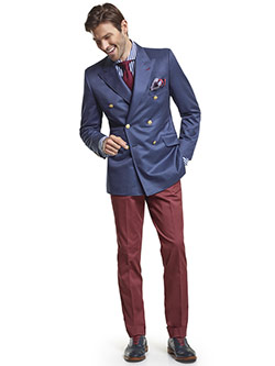 Men's Modern Custom Suit Gallery                                                                                                                                                                                                                          , Super 120's Royal Blue Melange - Custom Double Breasted Blazer & Custom Oxblood Red Plain Trousers