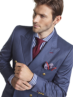 Men's Modern Custom Suit Gallery                                                                                                                                                                                                                          , Super 120's Royal Blue Melange - Custom Double Breasted Blazer