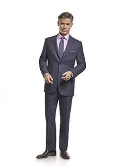 Men's Tradition Custom Suit Gallery                                                                                                                                                                                                                       , Super 140's Blue Birdseye - H&S Mille Miglia - Custom Men's Suit