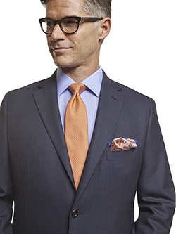 Men's Tradition Custom Suit Gallery                                                                                                                                                                                                                       , Super 140's Blue Birdseye - H&S Mille Miglia - Custom Tailored Suit