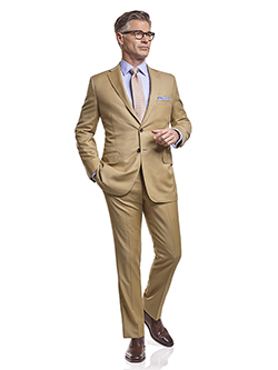 Men's Tradition Custom Suit Gallery                                                                                                                                                                                                                       , Super 120's Tan Solid - Custom Men's Suit
