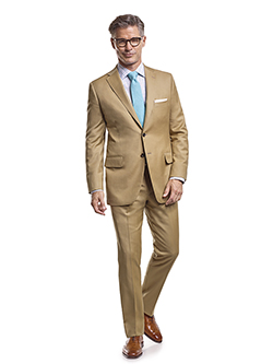Men's Tradition Custom Suit Gallery                                                                                                                                                                                                                       , Super 120's Tan Solid - Custom Tailored Suit