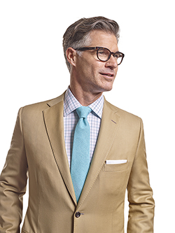 Men's Tradition Custom Suit Gallery                                                                                                                                                                                                                       , Super 120's Tan Solid - Custom Suit - Craft Stitching