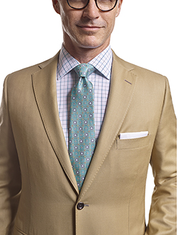 Men's Tradition Custom Suit Gallery                                                                                                                                                                                                                       , Super 120's Tan Solid - Made-To-Measure Suit - Craft Stitching