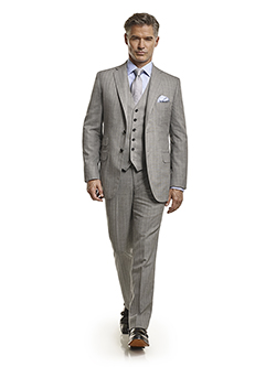 Men's Tradition Custom Suit Gallery                                                                                                                                                                                                                       , Super 120's Black & White Herringbone Stripe - Custom Men's 3-Piece Suit