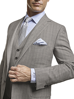 Men's Tradition Custom Suit Gallery                                                                                                                                                                                                                       , Super 120's Black & White Herringbone Stripe - Made-To-Measure Men's 3-Piece Suit