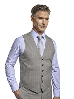 Men's Tradition Custom Suit Gallery                                                                                                                                                                                                                       , Super 120's Black & White Herringbone Stripe - Custom Tailored Vest