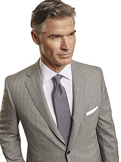 Men's Tradition Custom Suit Gallery                                                                                                                                                                                                                       , Super 120's Black & White Herringbone Stripe - Custom Men's 2-Piece Suit
