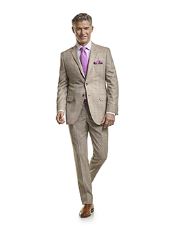Custom Super 120's Light Tan Plaid - Custom Men's Suit