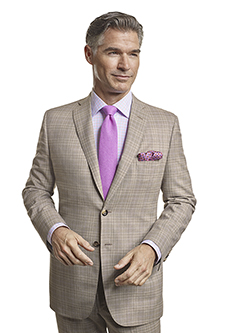 Men's Tradition Custom Suit Gallery                                                                                                                                                                                                                       , Super 120's Light Tan Plaid - Made-To-Measure Suits