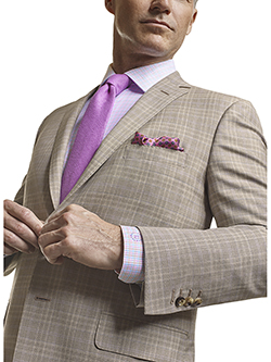 Men's Tradition Custom Suit Gallery                                                                                                                                                                                                                       , Super 120's Light Tan Plaid - Made-To-Measure Men's Suit
