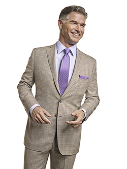 Men's Tradition Custom Suit Gallery                                                                                                                                                                                                                       , Super 120's Light Tan Plaid - Custom Tailored Suit