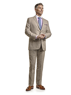 Custom Super 120's Light Tan Plaid - Custom Suit