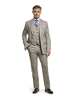 Men's Tradition Custom Suit Gallery                                                                                                                                                                                                                       , Super 140's Gray Windowpane - Custom Men's 3-Piece Suit