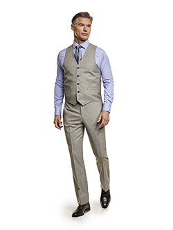 Men's Tradition Custom Suit Gallery                                                                                                                                                                                                                       , Super 140's Gray Windowpane - Made-To-Measure Men's 3-Piece Suit