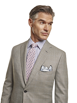 Men's Tradition Custom Suit Gallery                                                                                                                                                                                                                       , Super 140's Gray Windowpane - Made-To-Measure Suit