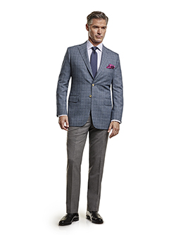 Men's Tradition Custom Suit Gallery                                                                                                                                                                                                                       , Super 100's Blue Mix Plaid - Custom Men's Sport Coat & Custom Trousers