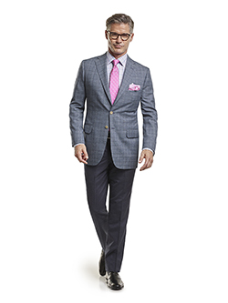 Custom Super 100's Blue Mix Plaid - Made-To-Measure Men's Sport Coat & Trousers