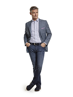Men's Tradition Custom Suit Gallery                                                                                                                                                                                                                       , Super 100's Blue Mix Plaid Sportscoat & 34 Heritage Jeans