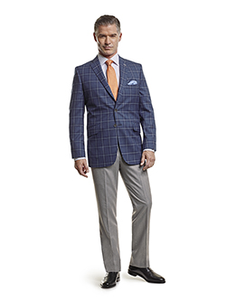 Men's Tradition Custom Suit Gallery                                                                                                                                                                                                                       , Super 100's Blue Plaid - Custom Men's Sport Coat & Custom Trousers