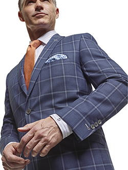 Men's Tradition Custom Suit Gallery                                                                                                                                                                                                                       , Super 100's Blue Plaid  - Custom Made Sport Coat