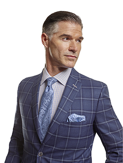Men's Tradition Custom Suit Gallery                                                                                                                                                                                                                       , Super 100's Blue Plaid - Made-To-Measure Sport Coat