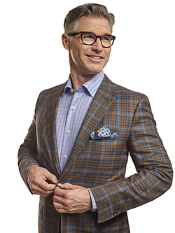 Custom Silk Mahogany & Navy Windowpane Check - Custom Men's Sport Coat