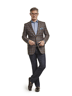 Men's Tradition Custom Suit Gallery                                                                                                                                                                                                                       , Silk Mahogany & Navy Windowpane Check - Custom Tailored Sport Coat