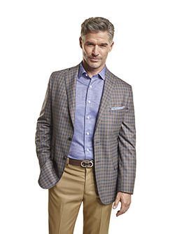 Men's Tradition Custom Suit Gallery                                                                                                                                                                                                                       , Super 140's Taupe & Blue Windowpane Check - Custom Tailored Sport Coat
