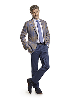 Men's Tradition Custom Suit Gallery                                                                                                                                                                                                                       , Super 140's Taupe & Blue Windowpane Check - Custom Sport Coat & Custom Trousers