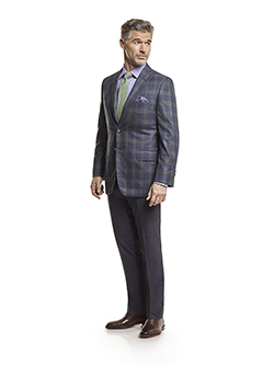 Men's Tradition Custom Suit Gallery                                                                                                                                                                                                                       , Super 140's Char Blue Plaid - Custom Men's Suit - Made-To-Measure Sports Coat