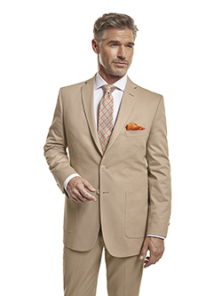 Men's Tradition Custom Suit Gallery                                                                                                                                                                                                                       , 100% Cotton Khaki Plain - Made-To-Measure Suit