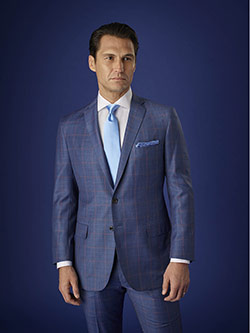 Men's Luxury Collection                                                                                                                                                                                                                                   , Holland & Sherry Cashique - Airforce Blue Glen Plaid with Red Deco