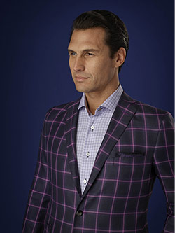 Men's Luxury Collection                                                                                                                                                                                                                                   , Holland & Sherry Sherry Silk - Navy/Purple Mock Glen Plaid Check