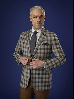 Men's Luxury Collection                                                                                                                                                                                                                                   , Holland & Sherry Crystal Springs - Super 140's Worsted Wood - Silver/Brown Tatan Plaid